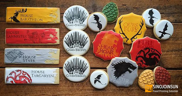 Game of Thrown themed cookie printed with Sinojoinsun edible ink and edible paper