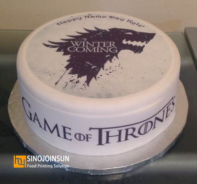 Game of Thrones themed cake printed with Sinojoinsun edible ink and edible paper